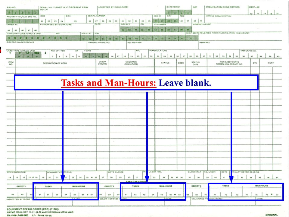 Tasks and Man-Hours: Leave blank.