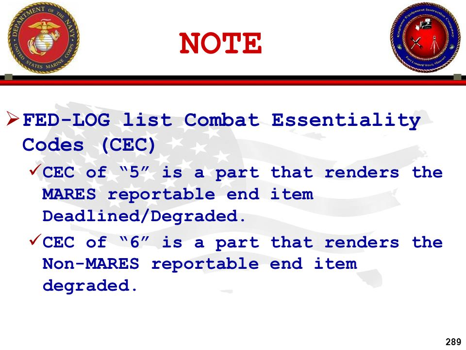 NOTE FED-LOG list Combat Essentiality Codes (CEC)