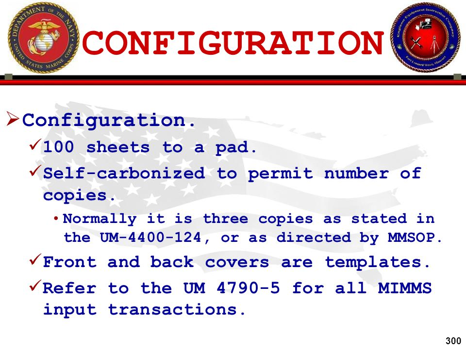 CONFIGURATION Configuration. 100 sheets to a pad.
