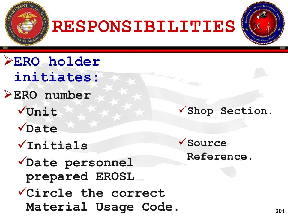 RESPONSIBILITIES ERO holder initiates: ERO number Unit Date Initials