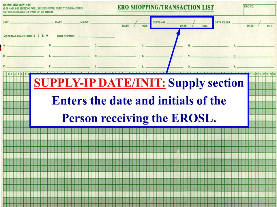 SUPPLY-IP DATE/INIT: Supply section
