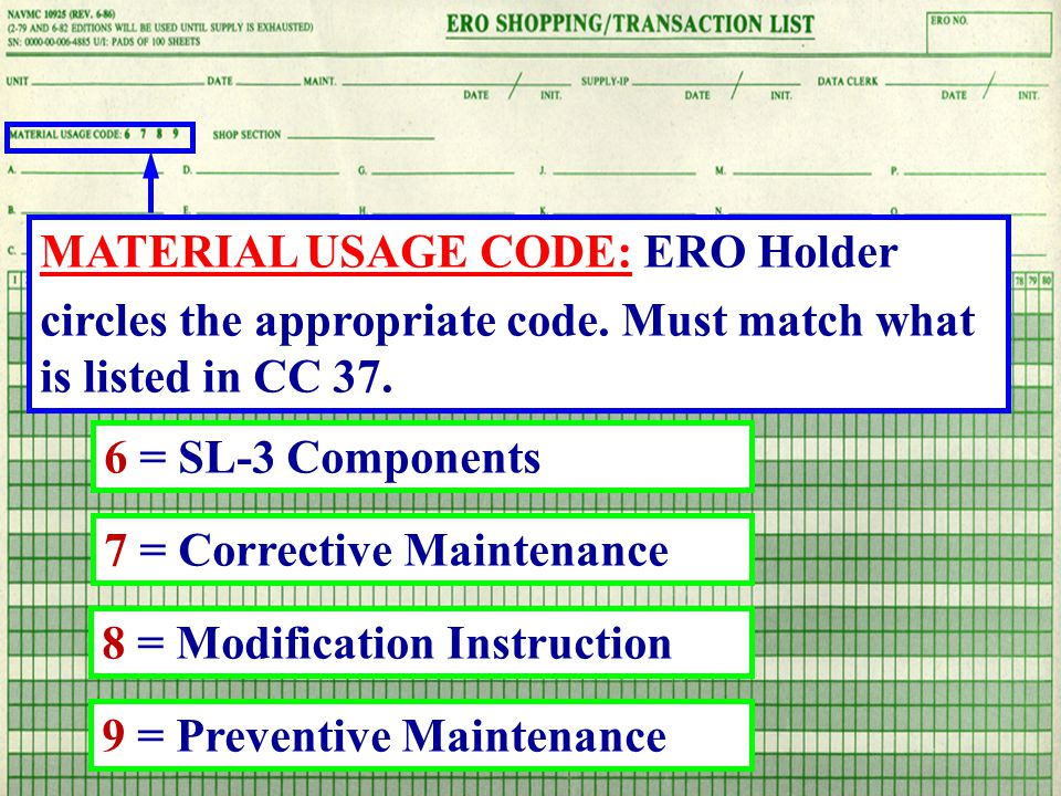 MATERIAL USAGE CODE: ERO Holder