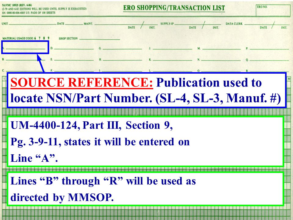 SOURCE REFERENCE: Publication used to locate NSN/Part Number