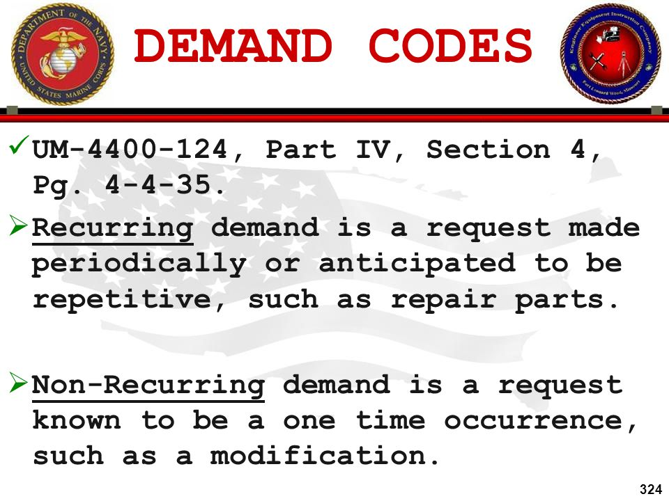DEMAND CODES UM-4400-124, Part IV, Section 4, Pg. 4-4-35.