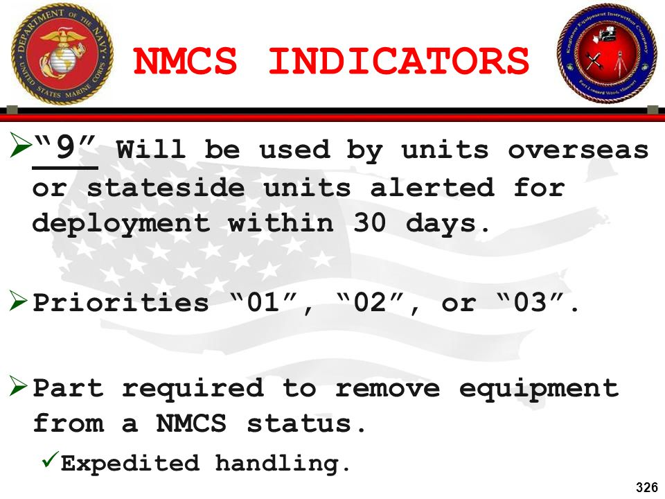 NMCS INDICATORS 9 Will be used by units overseas or stateside units alerted for deployment within 30 days.