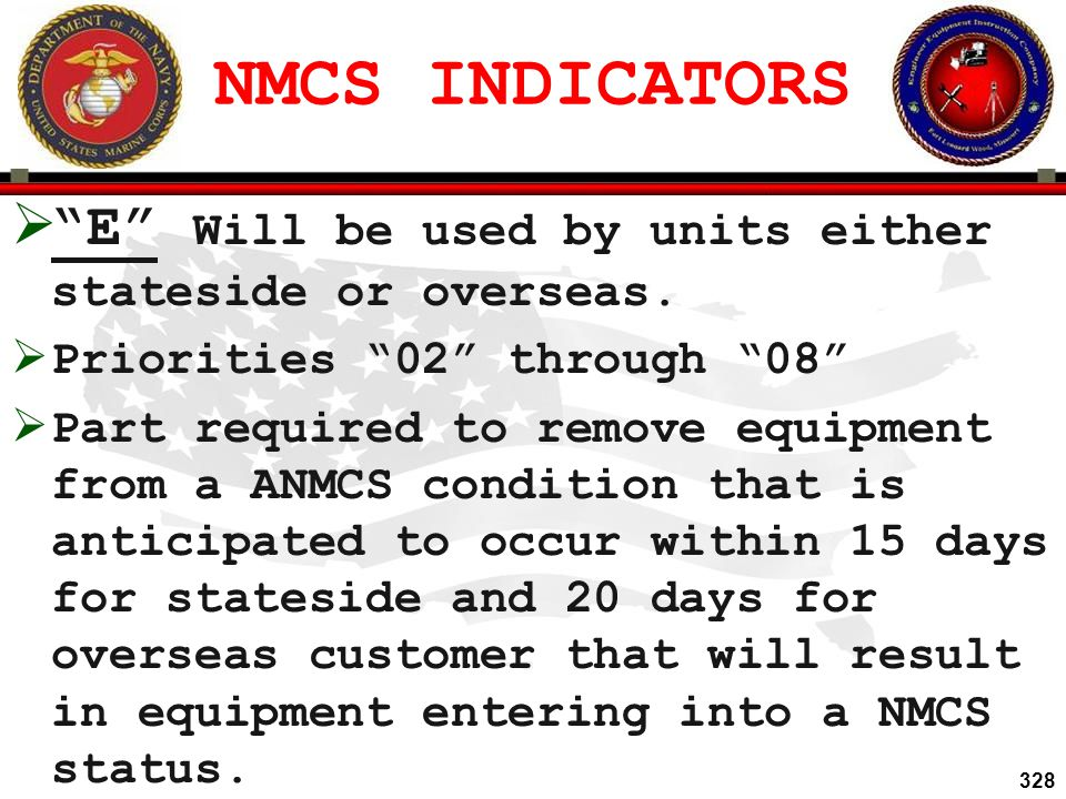 NMCS INDICATORS E Will be used by units either stateside or overseas. Priorities 02 through 08