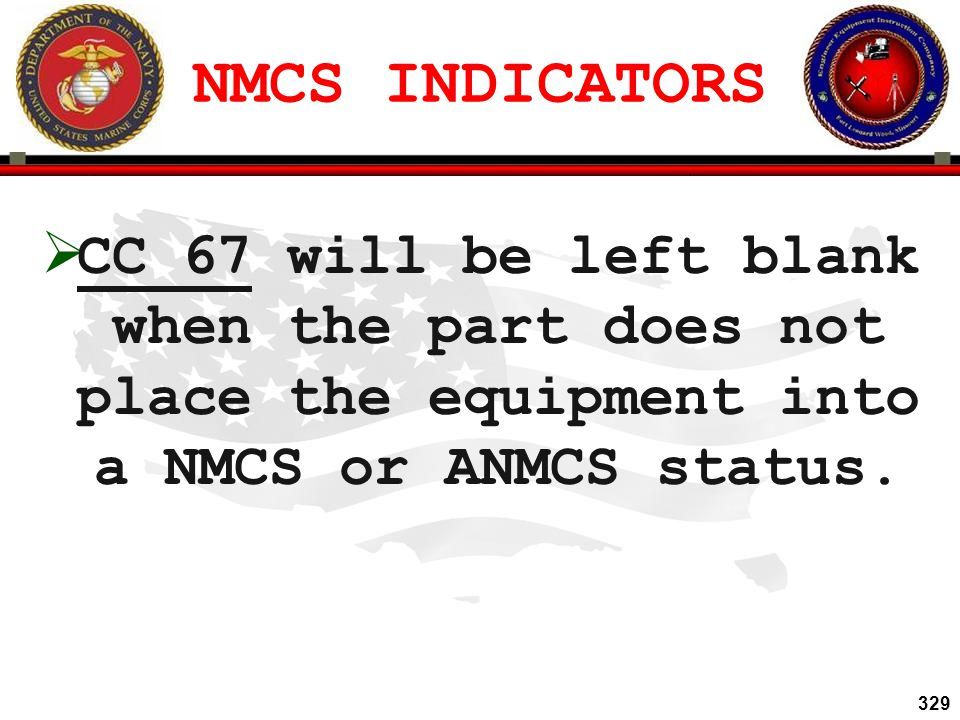 NMCS INDICATORS CC 67 will be left blank when the part does not place the equipment into a NMCS or ANMCS status.