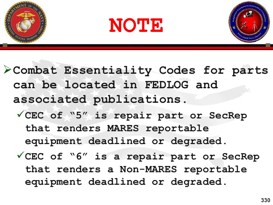 NOTE Combat Essentiality Codes for parts can be located in FEDLOG and associated publications.
