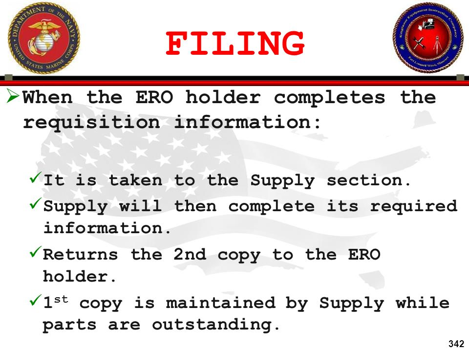 FILING When the ERO holder completes the requisition information: