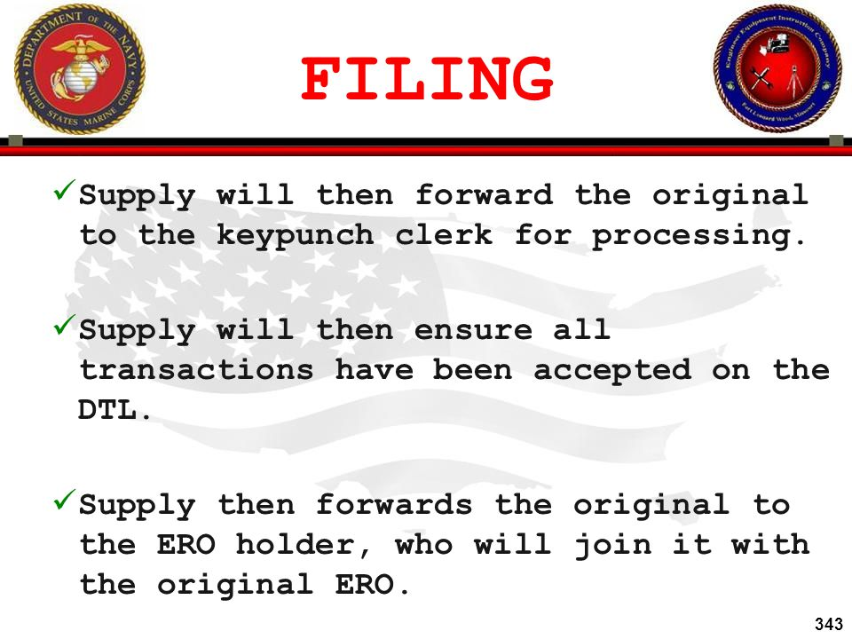 FILING Supply will then forward the original to the keypunch clerk for processing.