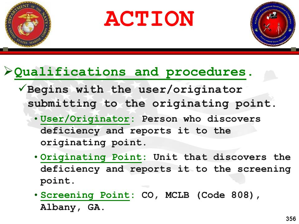 ACTION Qualifications and procedures.