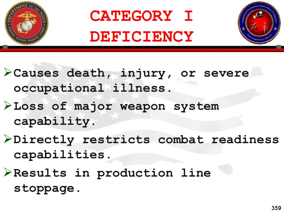 CATEGORY I DEFICIENCY Causes death, injury, or severe occupational illness. Loss of major weapon system capability.