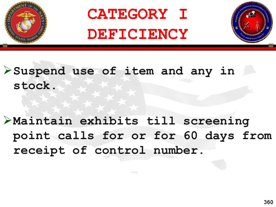 CATEGORY I DEFICIENCY Suspend use of item and any in stock.