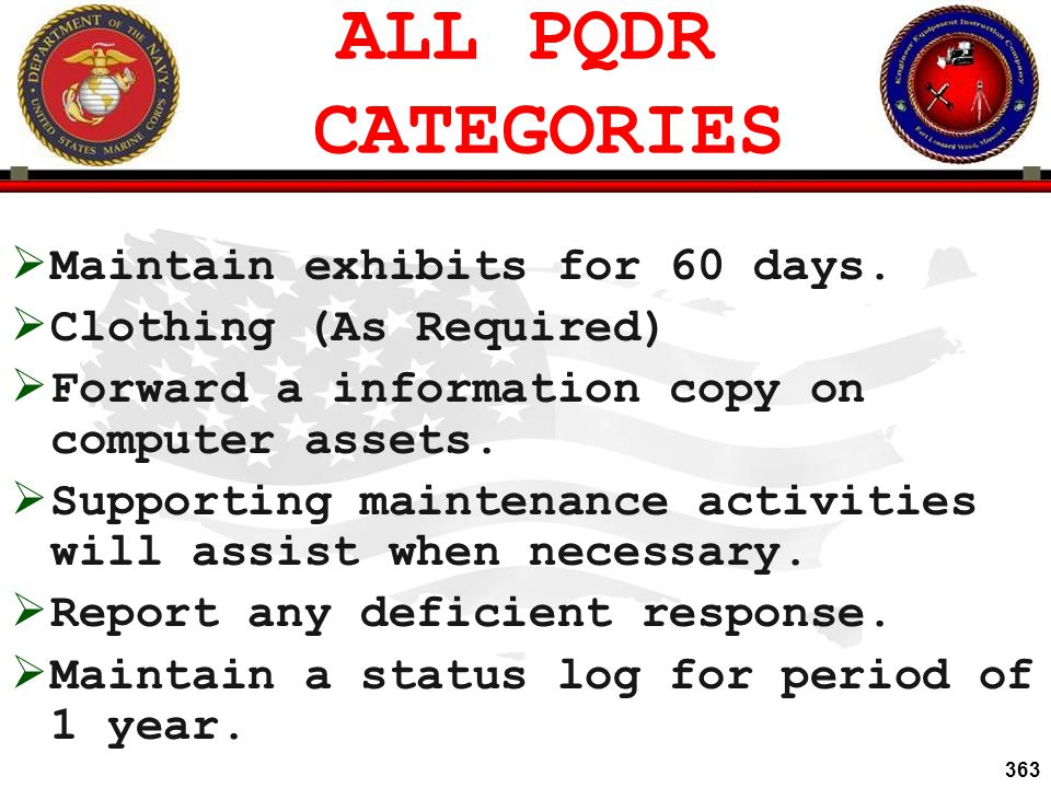 ALL PQDR CATEGORIES Maintain exhibits for 60 days.