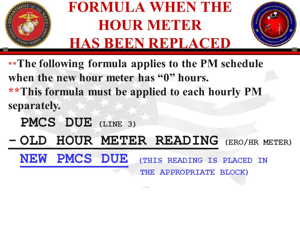 FORMULA WHEN THE HOUR METER HAS BEEN REPLACED