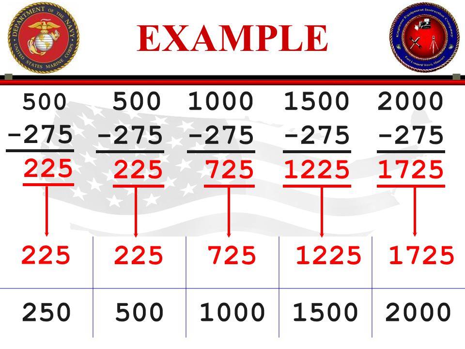 EXAMPLE 225. 500. -275. 225. 500. -275. 725. 1000. -275. 1225. 1500. -275. 1725. 2000.