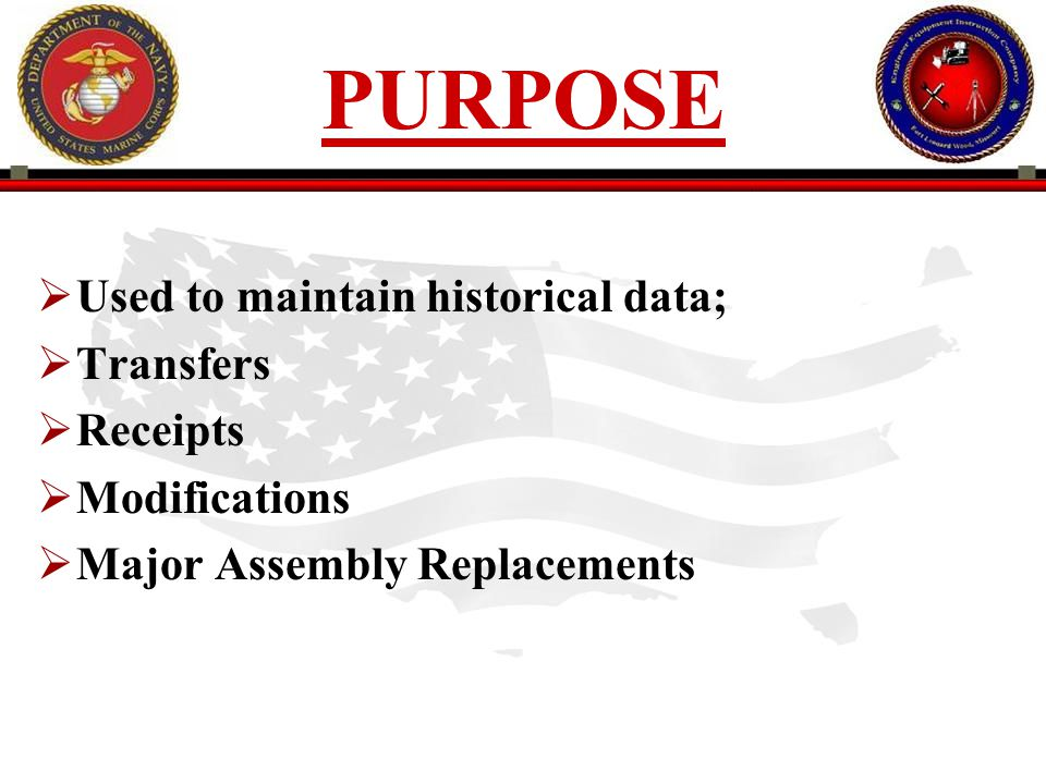 PURPOSE Used to maintain historical data; Transfers Receipts