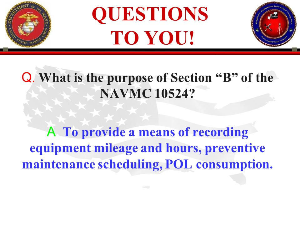 . What is the purpose of Section B of the NAVMC