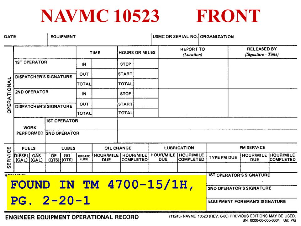 NAVMC 10523 FRONT FOUND IN TM 4700-15/1H, PG. 2-20-1
