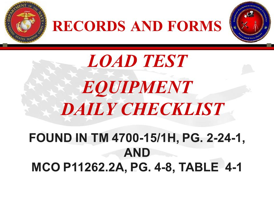 EQUIPMENT DAILY CHECKLIST
