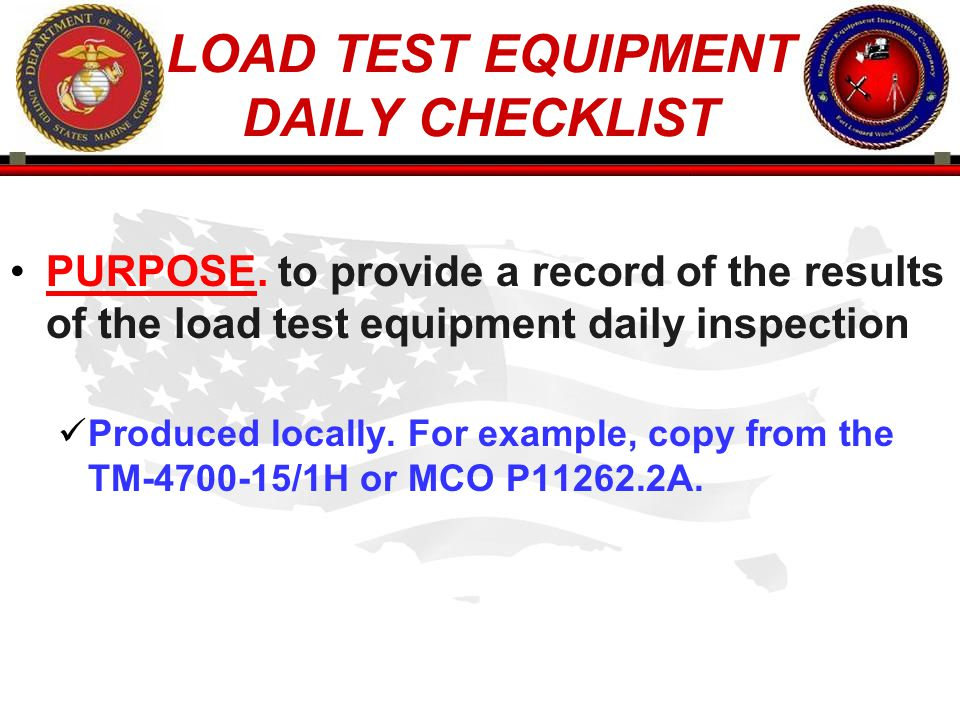 LOAD TEST EQUIPMENT DAILY CHECKLIST