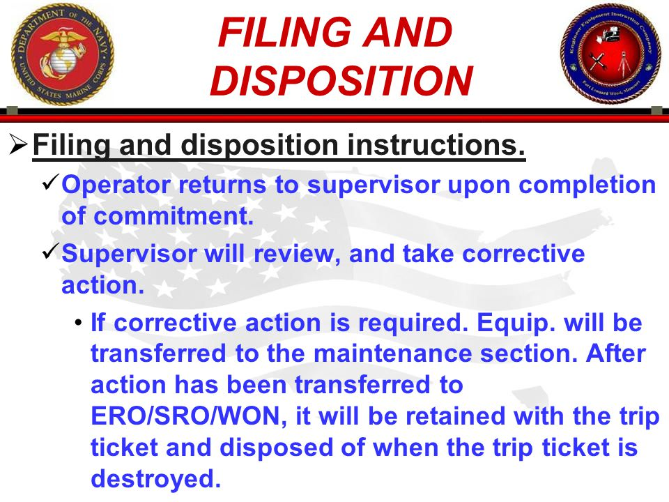 FILING AND DISPOSITION