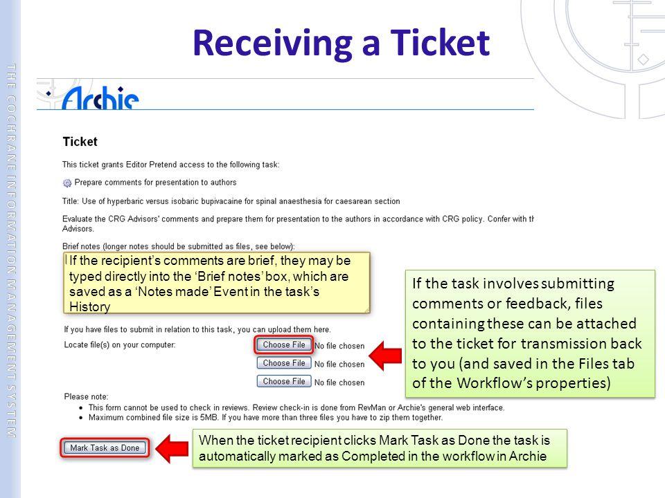 Receiving a Ticket