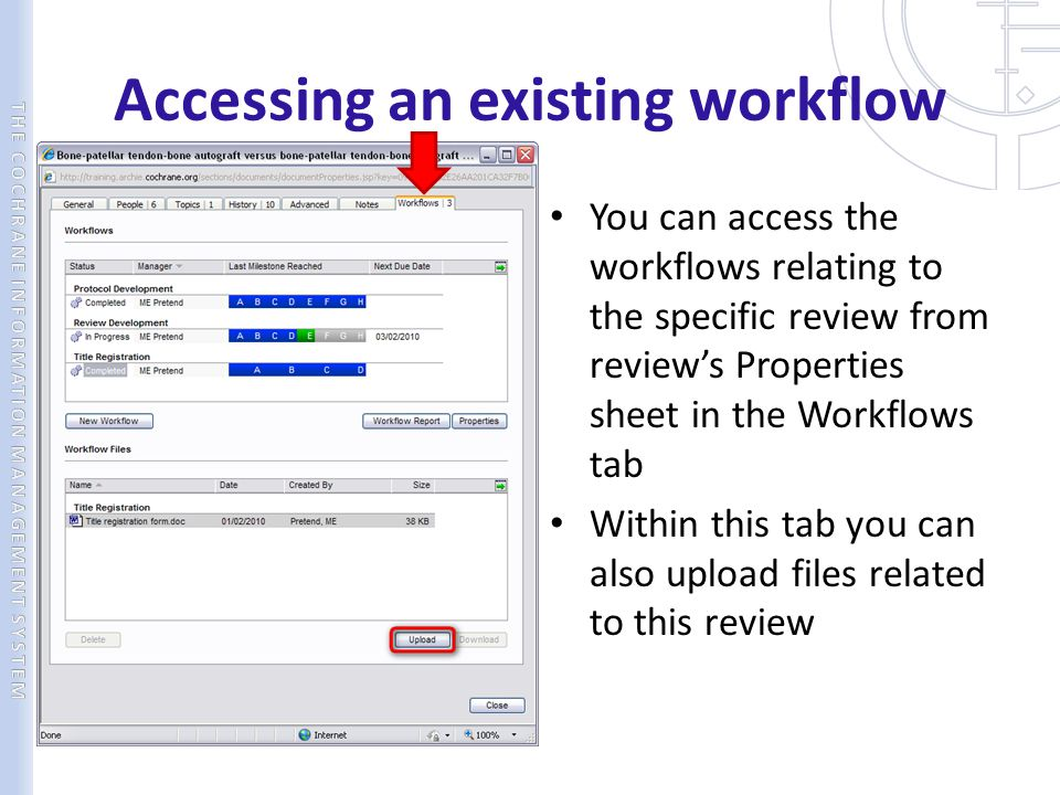 Accessing an existing workflow