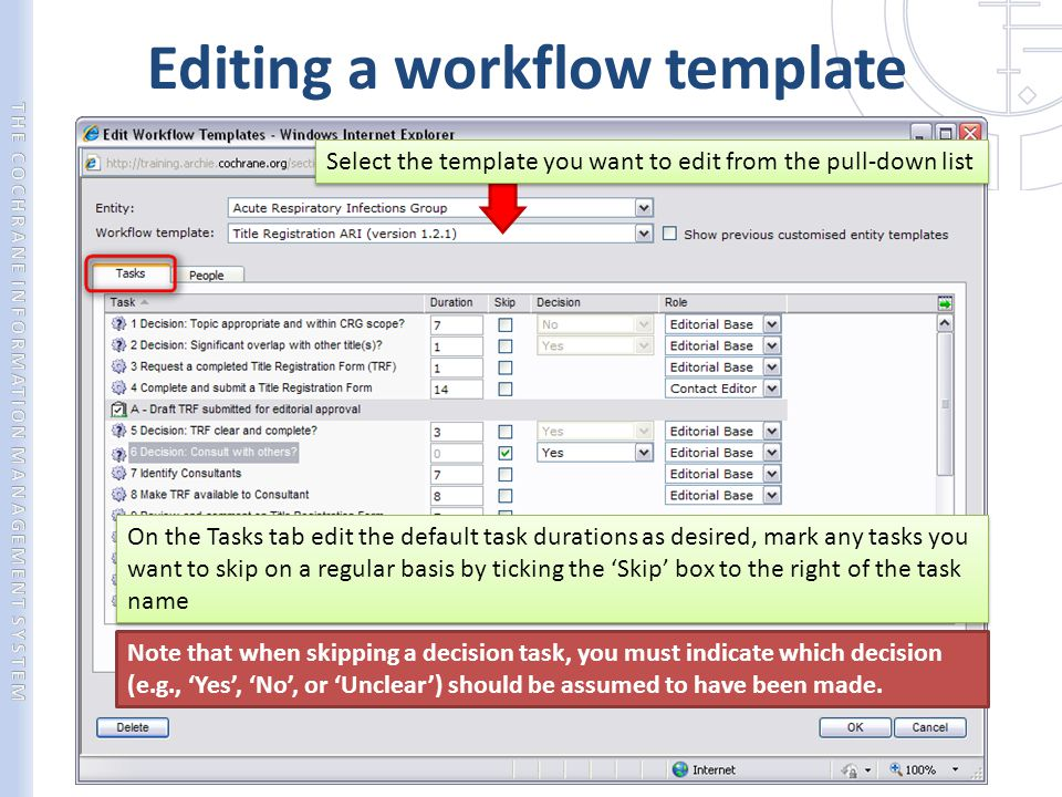 Editing a workflow template