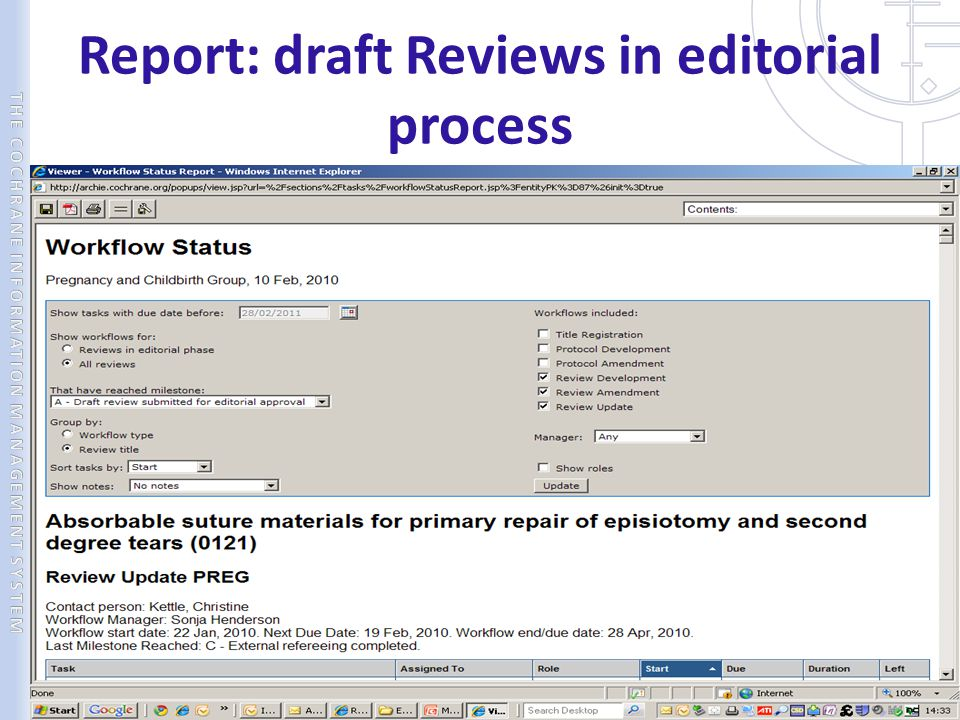 Report: draft Reviews in editorial process
