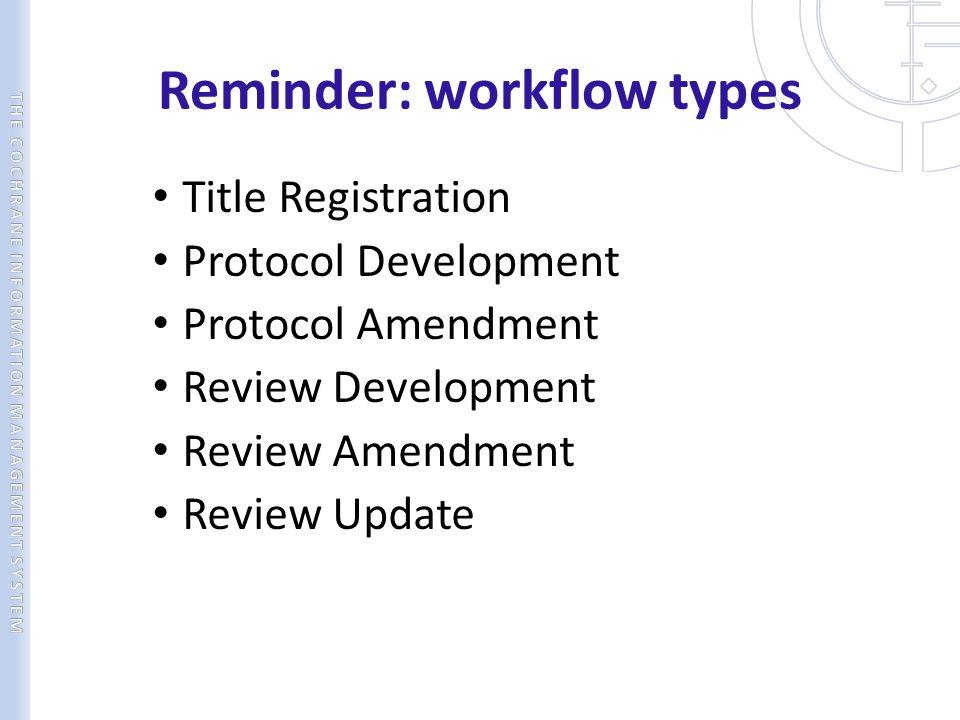 Reminder: workflow types