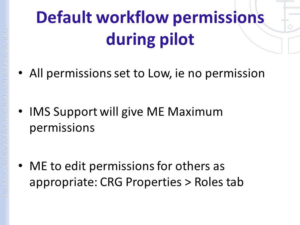 Default workflow permissions during pilot