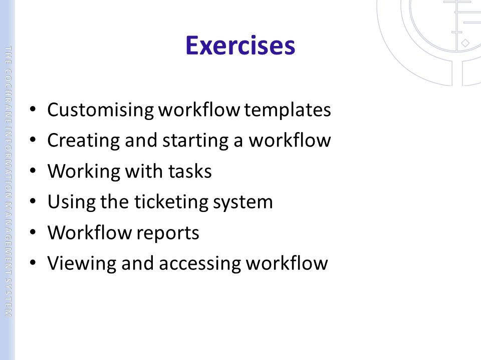 Exercises Customising workflow templates