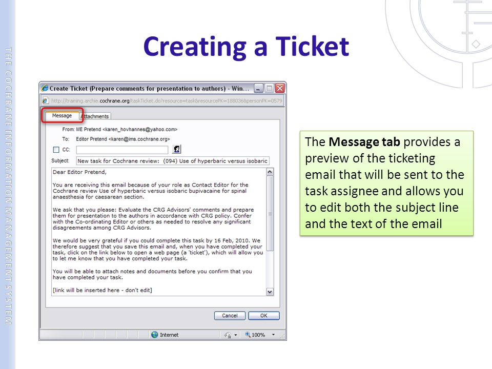 Creating a Ticket