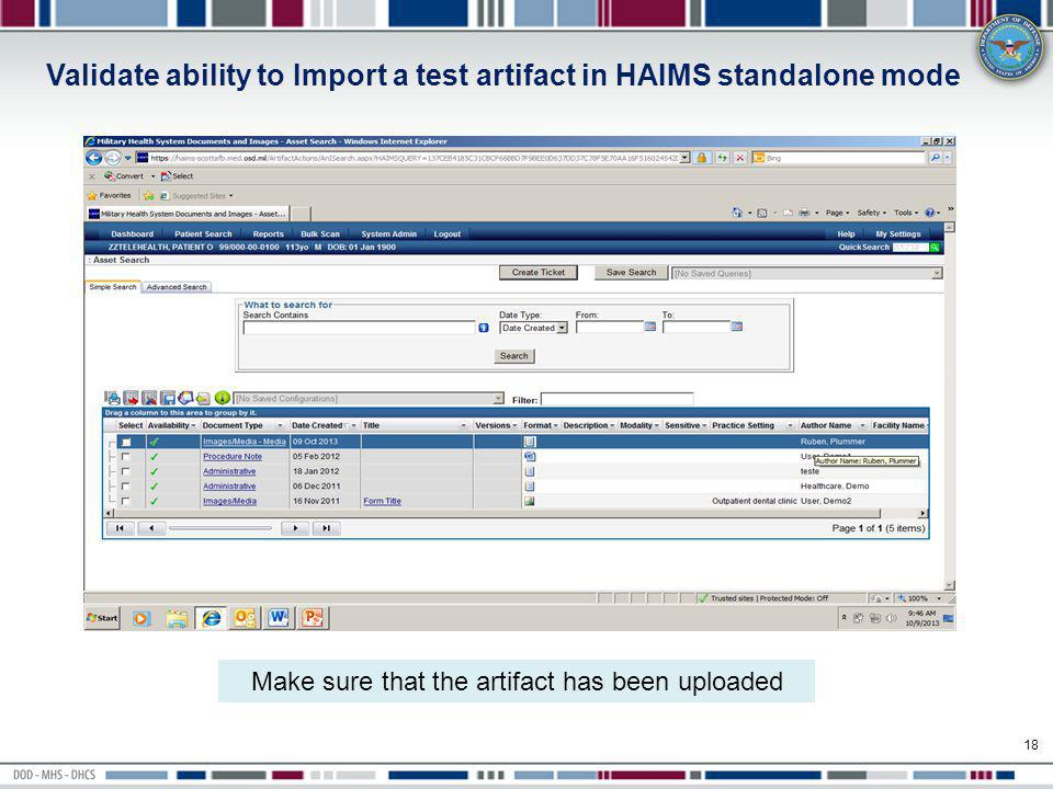 Validate ability to Import a test artifact in HAIMS standalone mode