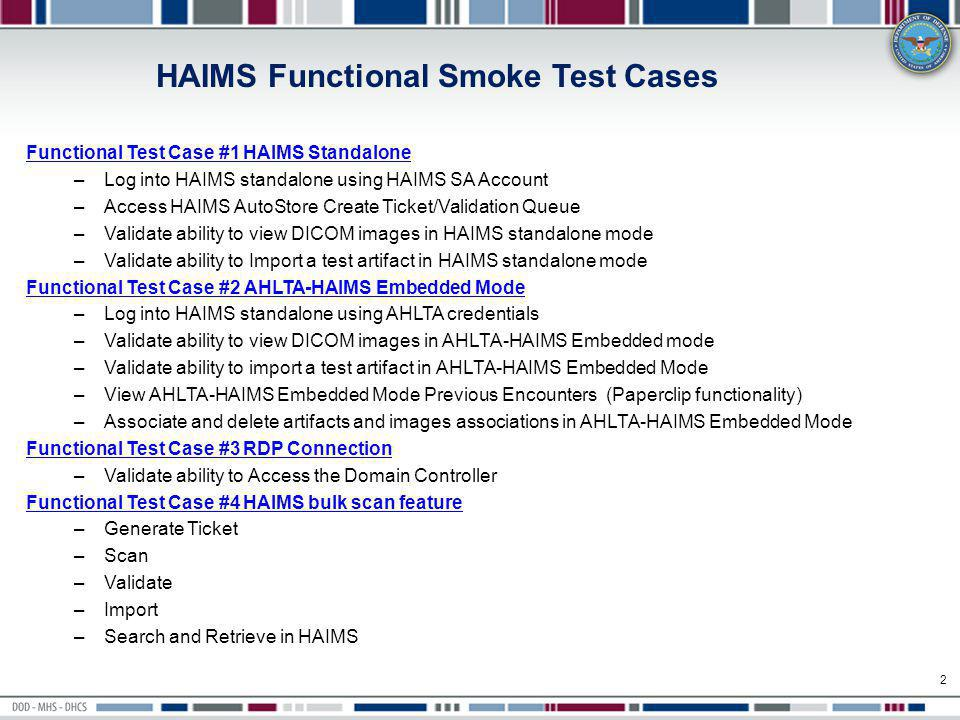 HAIMS Functional Smoke Test Cases