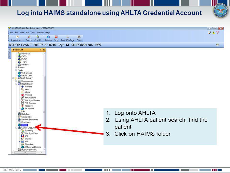 Log into HAIMS standalone using AHLTA Credential Account