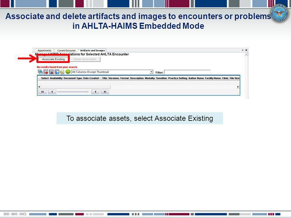 To associate assets, select Associate Existing