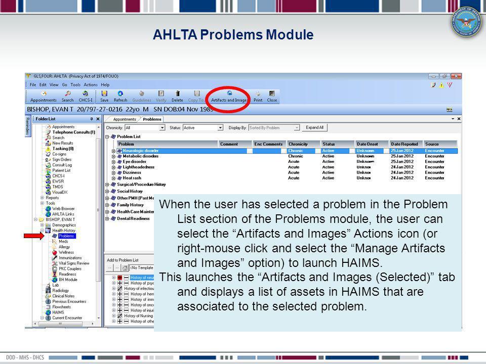 AHLTA Problems Module