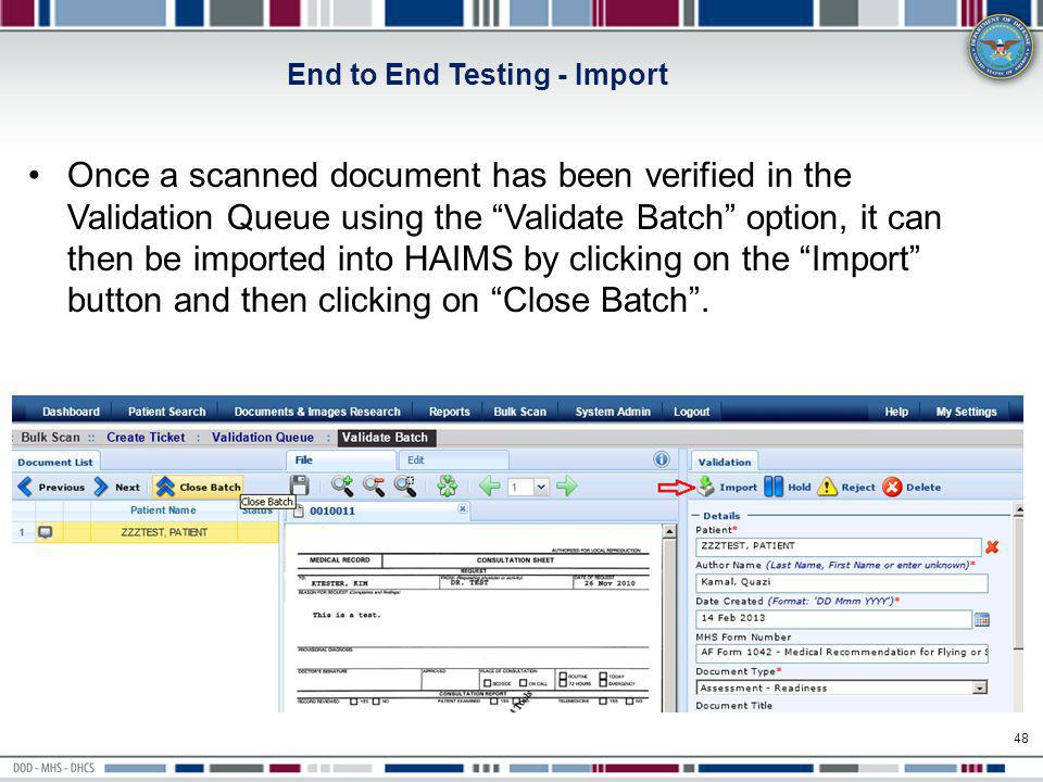 End to End Testing - Import