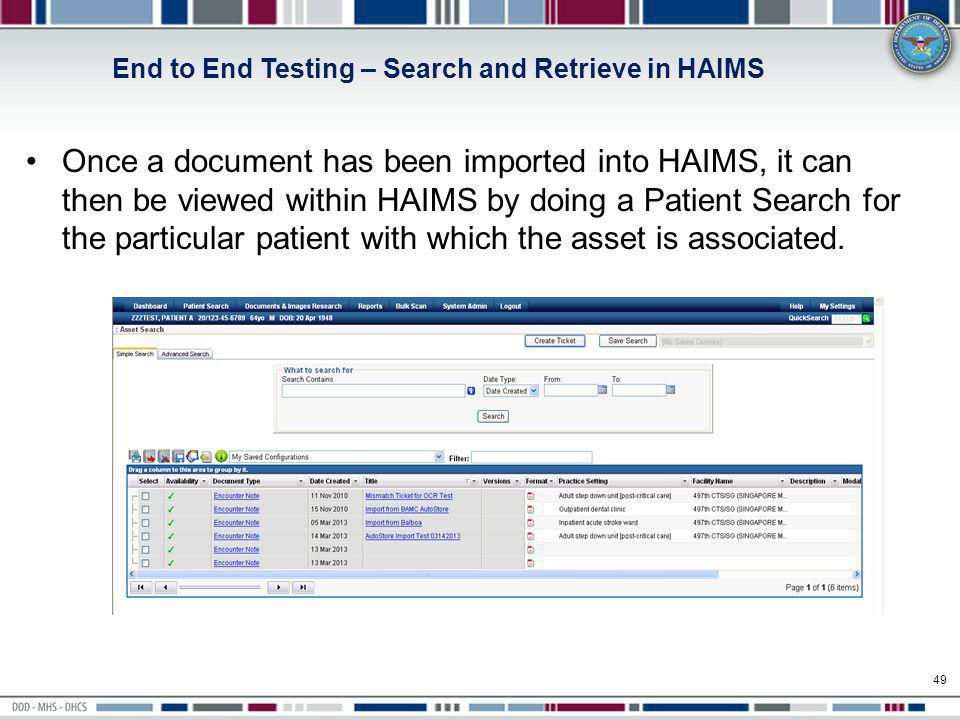 End to End Testing – Search and Retrieve in HAIMS