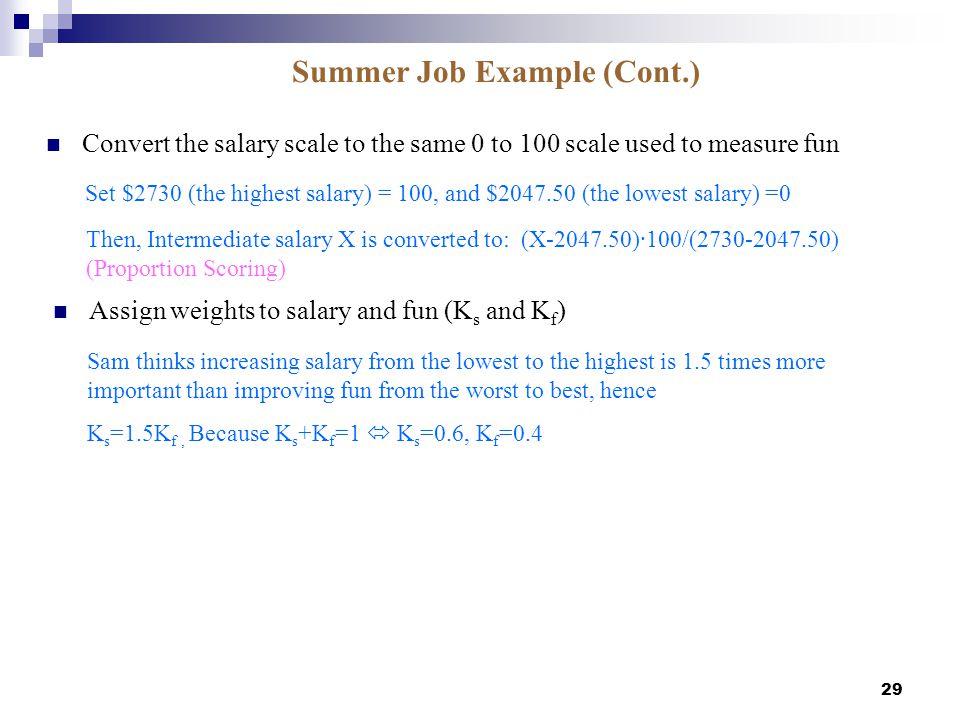 Summer Job Example (Cont.)