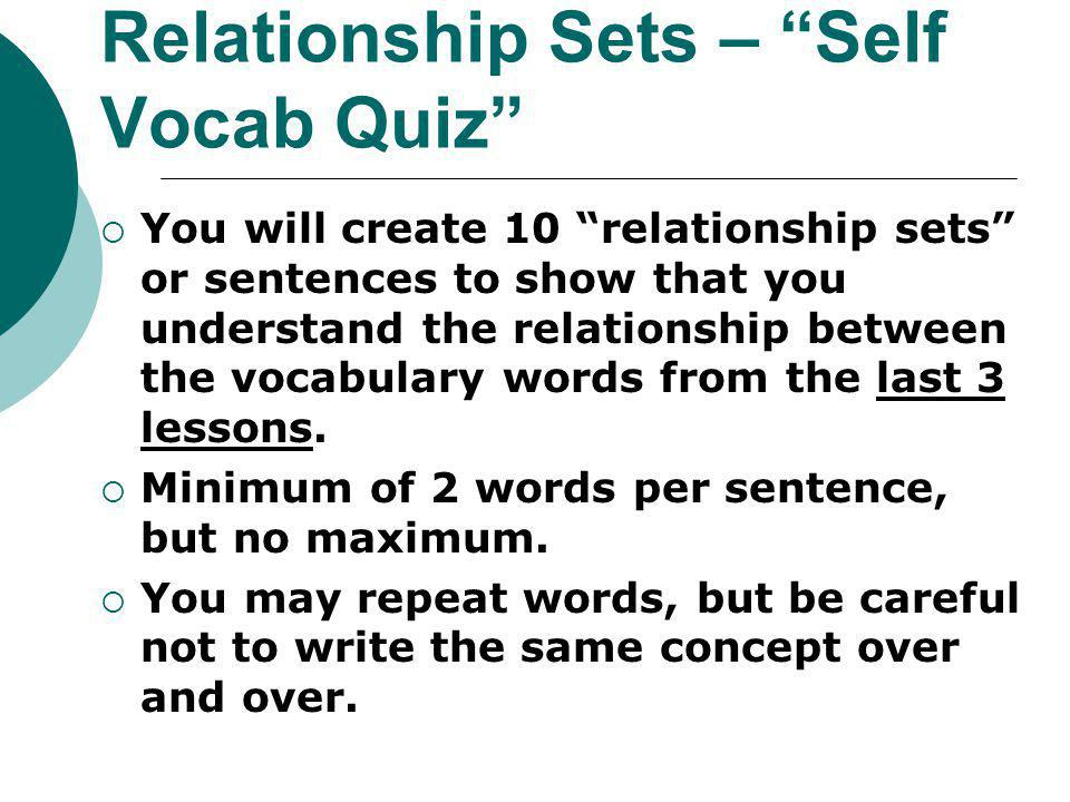 Relationship Sets – Self Vocab Quiz