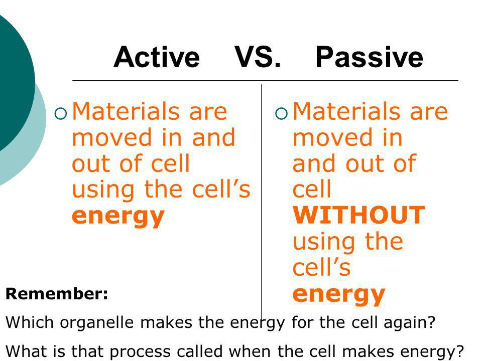 Materials are moved in and out of cell using the cell's energy