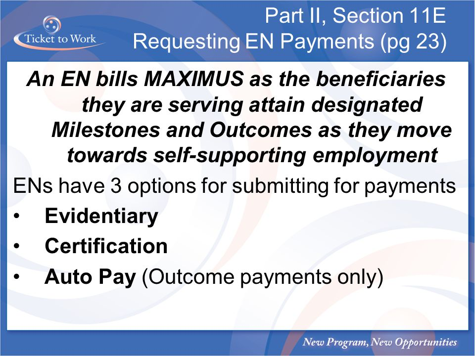 Part II, Section 11E Requesting EN Payments (pg 23)