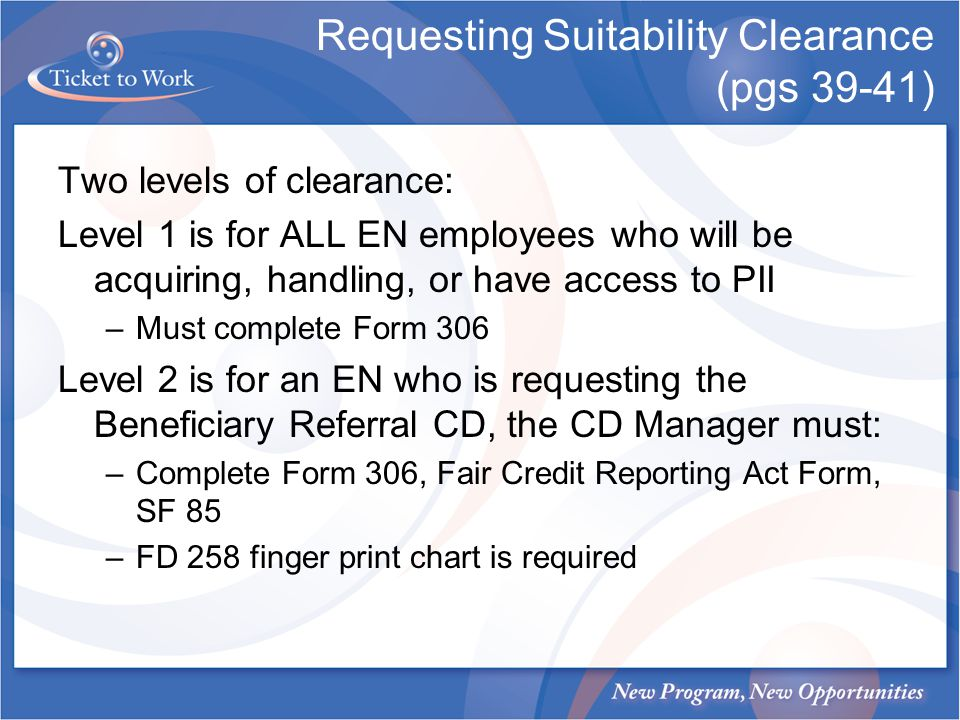 Requesting Suitability Clearance (pgs 39-41)