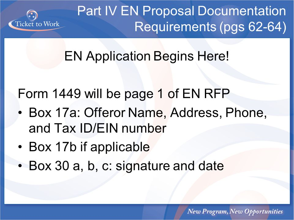 Part IV EN Proposal Documentation Requirements (pgs 62-64)