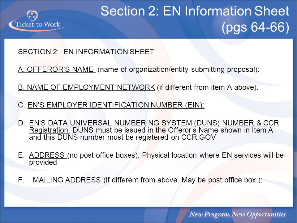 Section 2: EN Information Sheet (pgs 64-66)
