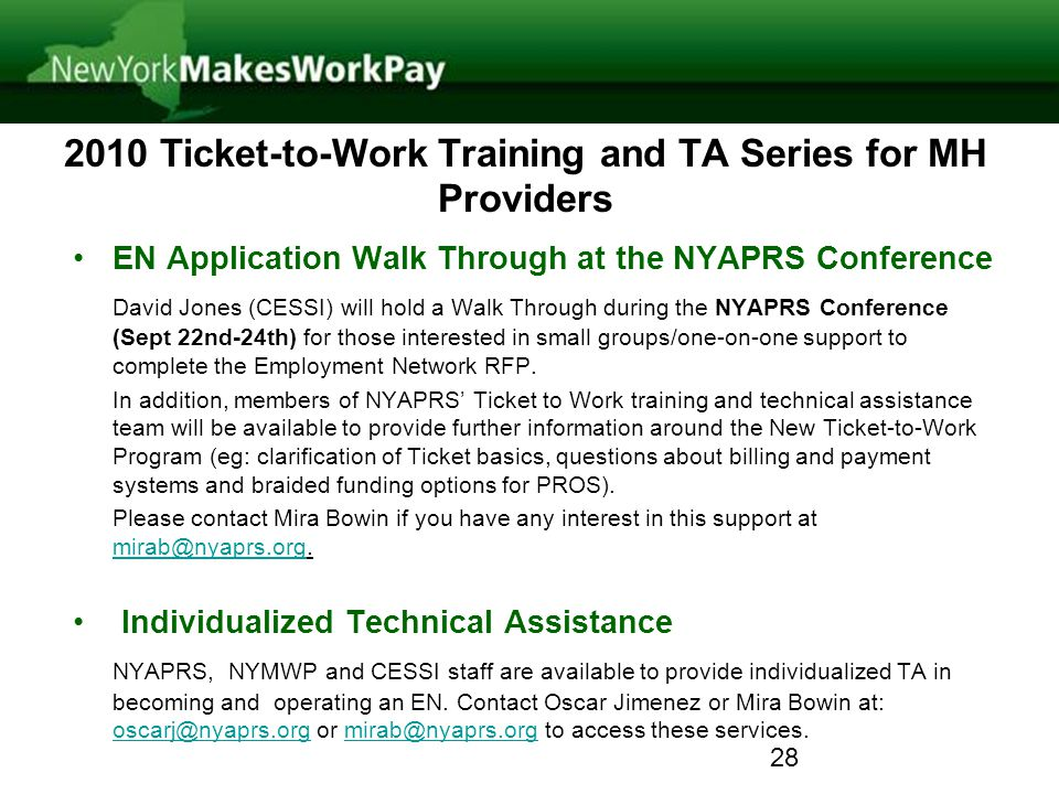 2010 Ticket-to-Work Training and TA Series for MH Providers