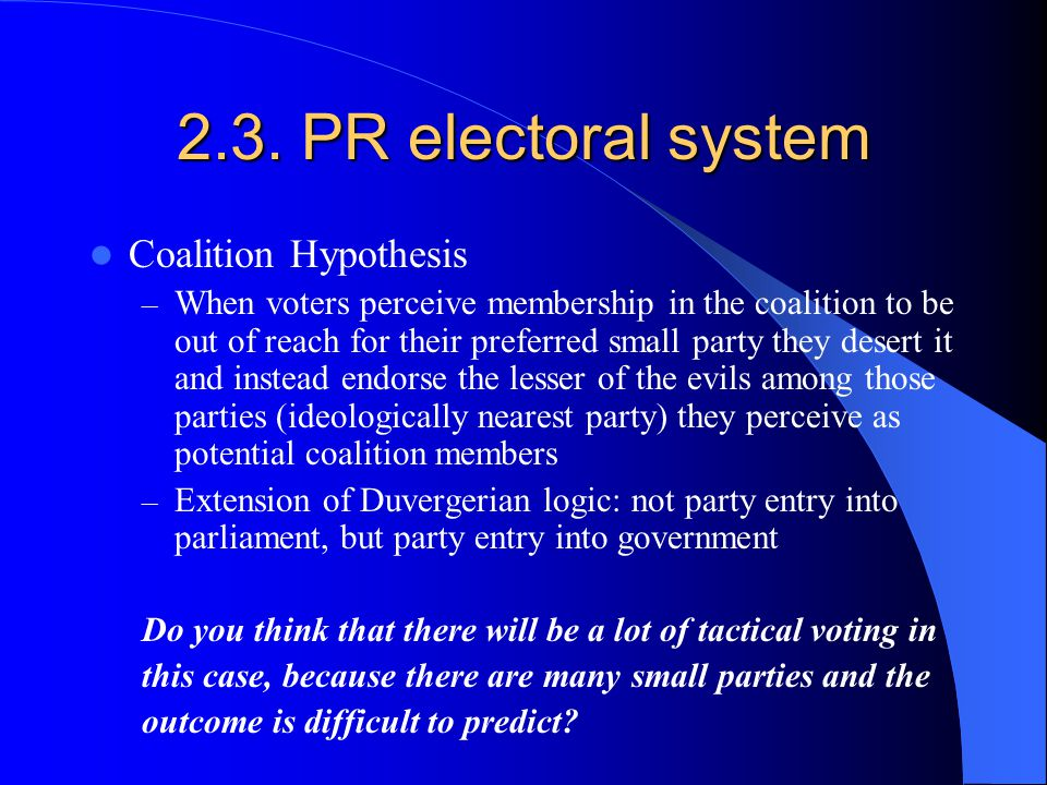 2.3. PR electoral system Coalition Hypothesis